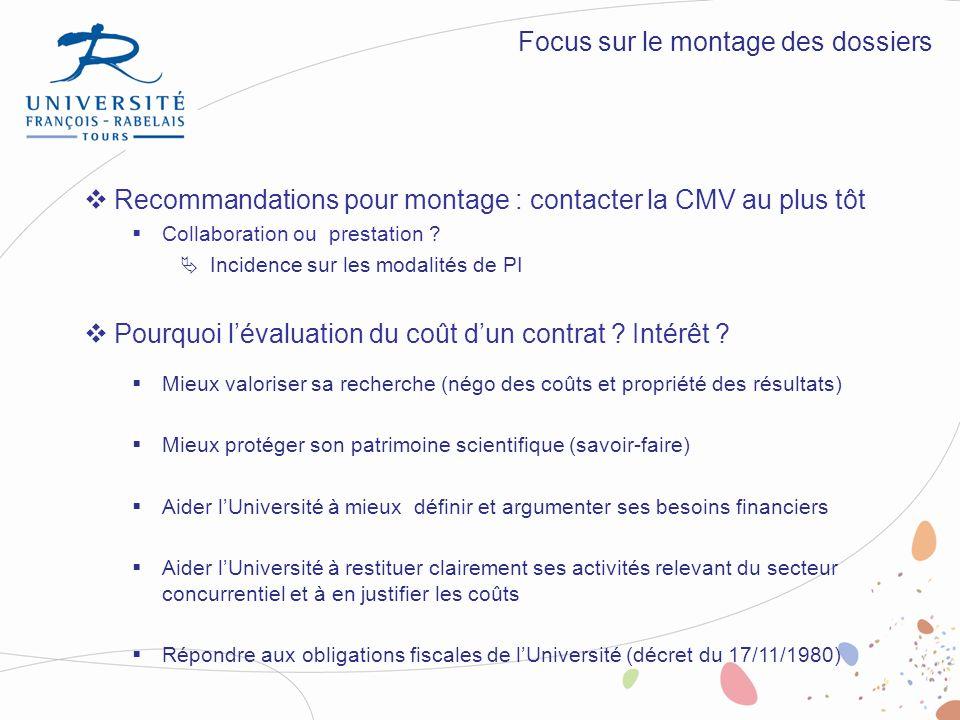 Recommandations pour montage : contacter la CMV au plus tôt Collaboration ou prestation ? Incidence sur les modalités de PI Pourquoi lévaluation du co