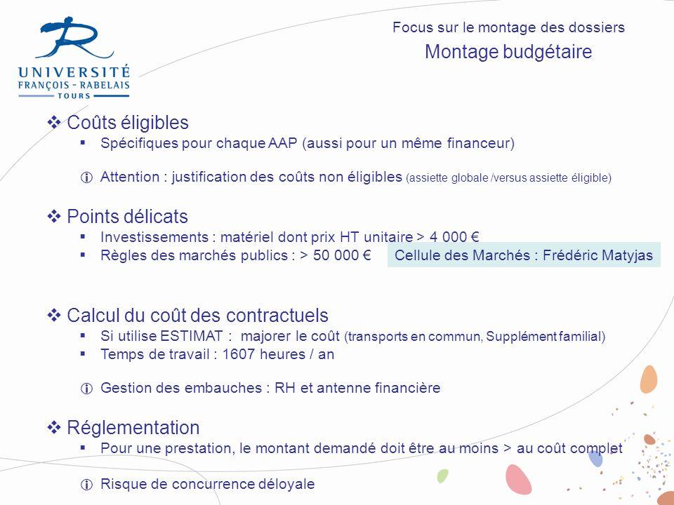 Coûts éligibles Spécifiques pour chaque AAP (aussi pour un même financeur) Attention : justification des coûts non éligibles (assiette globale /versus