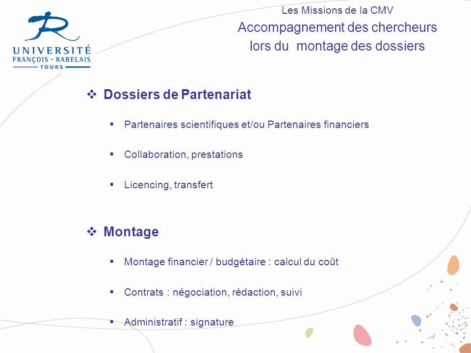Dossiers de Partenariat Partenaires scientifiques et/ou Partenaires financiers Collaboration, prestations Licencing, transfert Montage Montage financi