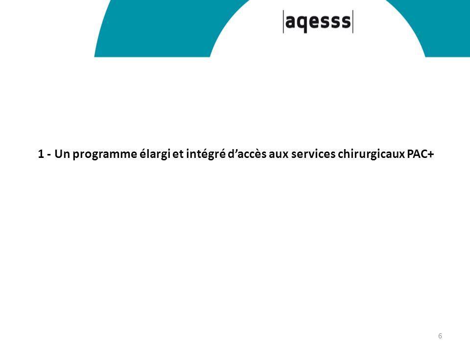 1 - Un programme élargi et intégré daccès aux services chirurgicaux PAC+ 6