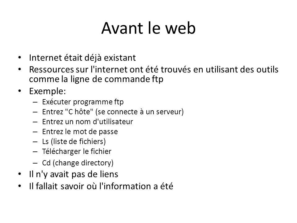 Avant le web Internet était déjà existant Ressources sur l'internet ont été trouvés en utilisant des outils comme la ligne de commande ftp Exemple: –
