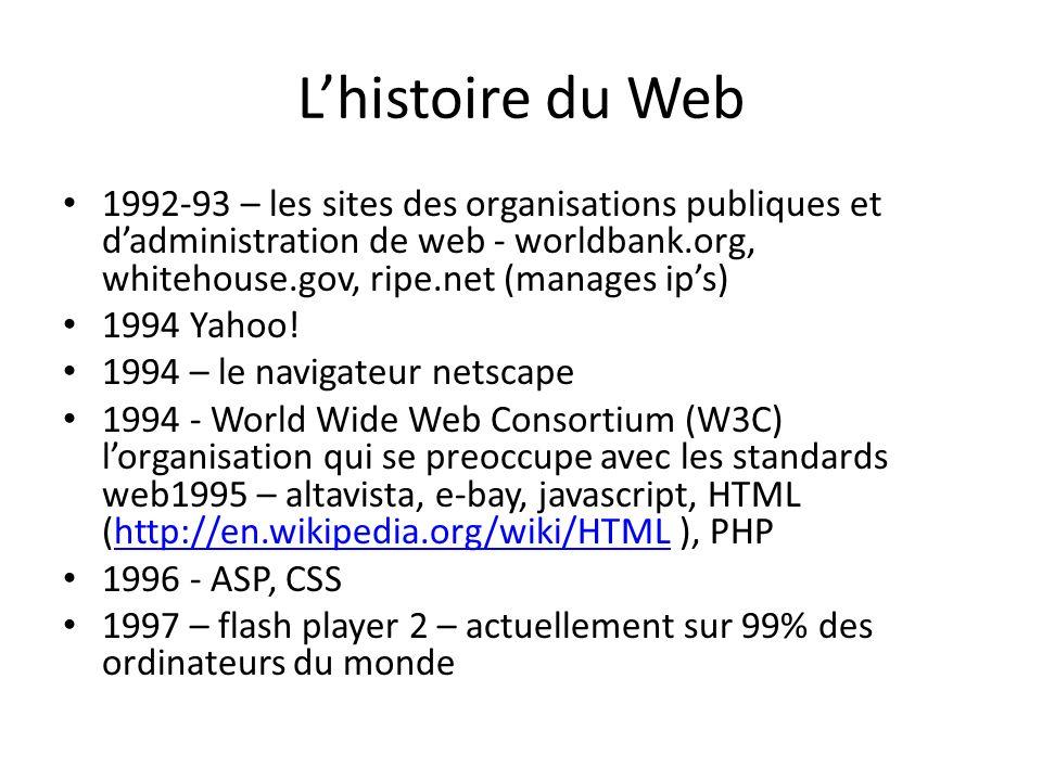 Lhistoire du Web 1992-93 – les sites des organisations publiques et dadministration de web - worldbank.org, whitehouse.gov, ripe.net (manages ips) 1994 Yahoo.