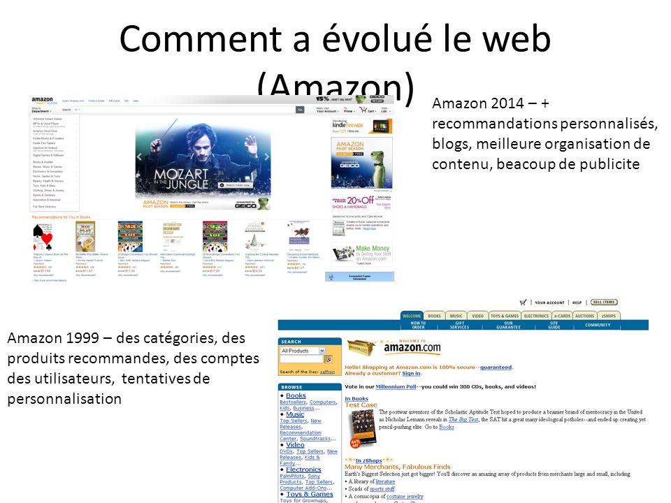 Comment a évolué le web (Amazon) Amazon 1999 – des catégories, des produits recommandes, des comptes des utilisateurs, tentatives de personnalisation Amazon 2014 – + recommandations personnalisés, blogs, meilleure organisation de contenu, beacoup de publicite