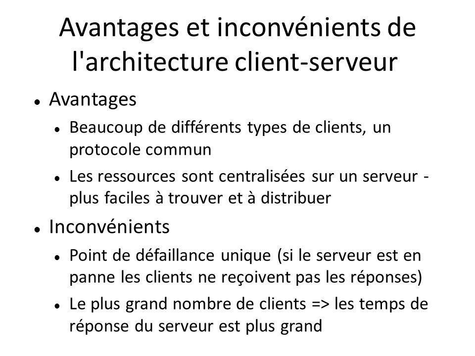 Avantages et inconvénients de l'architecture client-serveur Avantages Beaucoup de différents types de clients, un protocole commun Les ressources sont