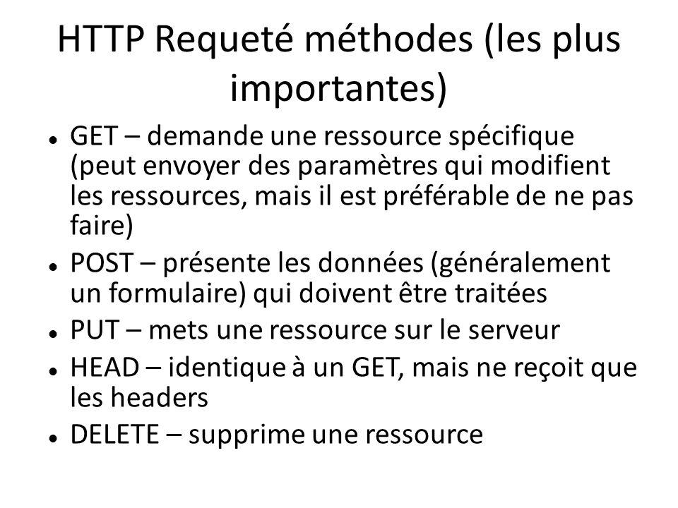 HTTP Requeté méthodes (les plus importantes) GET – demande une ressource spécifique (peut envoyer des paramètres qui modifient les ressources, mais il est préférable de ne pas faire) POST – présente les données (généralement un formulaire) qui doivent être traitées PUT – mets une ressource sur le serveur HEAD – identique à un GET, mais ne reçoit que les headers DELETE – supprime une ressource