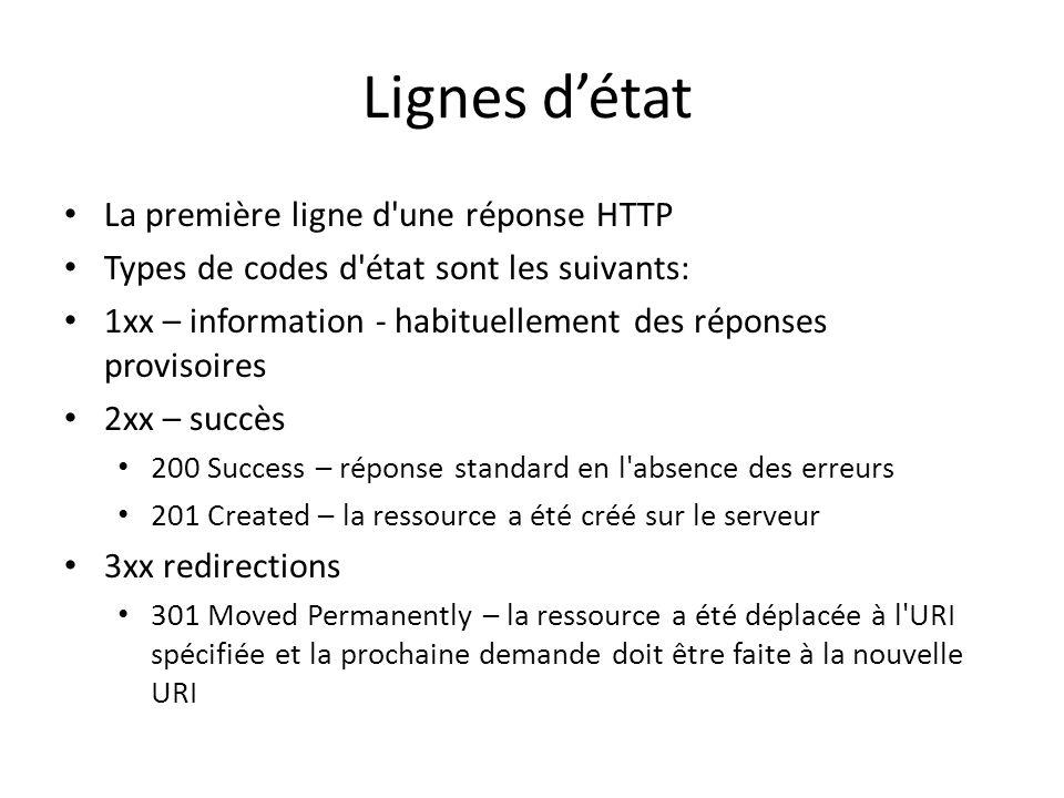 Lignes détat La première ligne d'une réponse HTTP Types de codes d'état sont les suivants: 1xx – information - habituellement des réponses provisoires