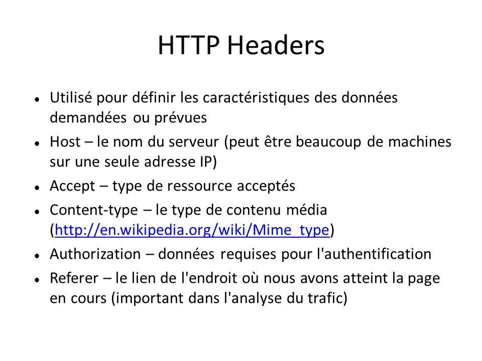 HTTP Headers Utilisé pour définir les caractéristiques des données demandées ou prévues Host – le nom du serveur (peut être beaucoup de machines sur une seule adresse IP) Accept – type de ressource acceptés Content-type – le type de contenu média (http://en.wikipedia.org/wiki/Mime_type)http://en.wikipedia.org/wiki/Mime_type Authorization – données requises pour l authentification Referer – le lien de l endroit où nous avons atteint la page en cours (important dans l analyse du trafic)