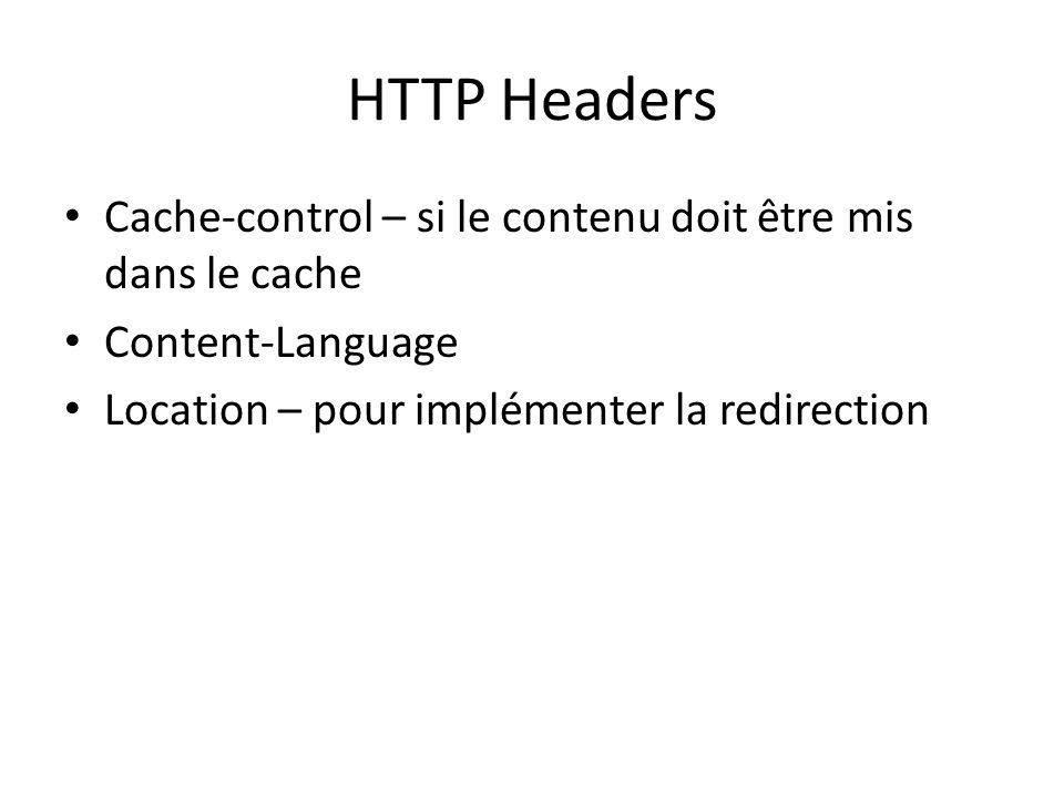 HTTP Headers Cache-control – si le contenu doit être mis dans le cache Content-Language Location – pour implémenter la redirection