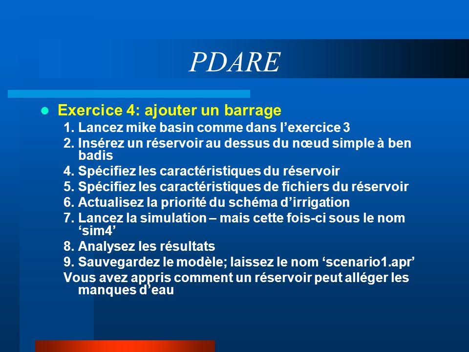 PDARE Exercice 4: ajouter un barrage 1.Lancez mike basin comme dans lexercice 3 2.Insérez un réservoir au dessus du nœud simple à ben badis 4.Spécifie