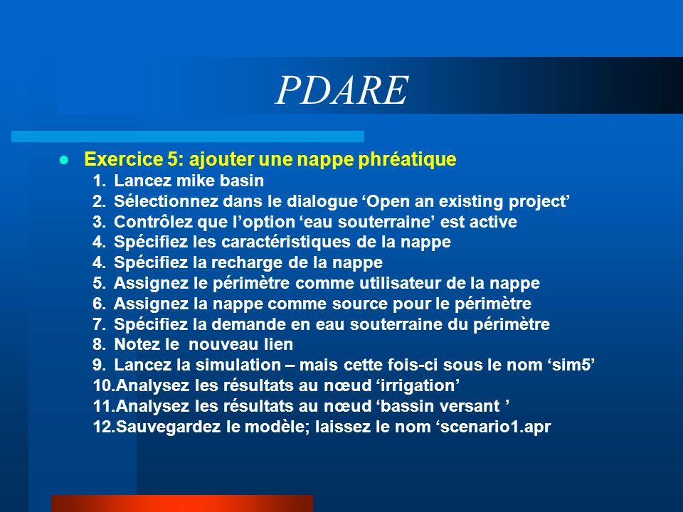 PDARE Exercice 5: ajouter une nappe phréatique 1.Lancez mike basin 2.Sélectionnez dans le dialogue Open an existing project 3.Contrôlez que loption ea