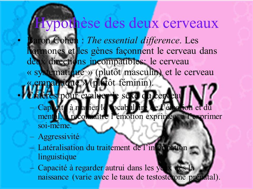 Hypothèse des deux cerveaux Baron Cohen : The essential difference.