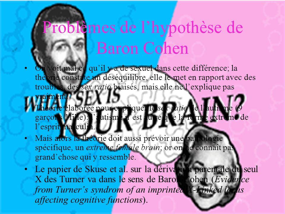 Problèmes de lhypothèse de Baron Cohen On voit mal ce quil y a de sexuel dans cette différence; la théorie constate un déséquilibre, elle le met en rapport avec des troubles, des sex ratio biaisés, mais elle ne lexplique pas vraiment.