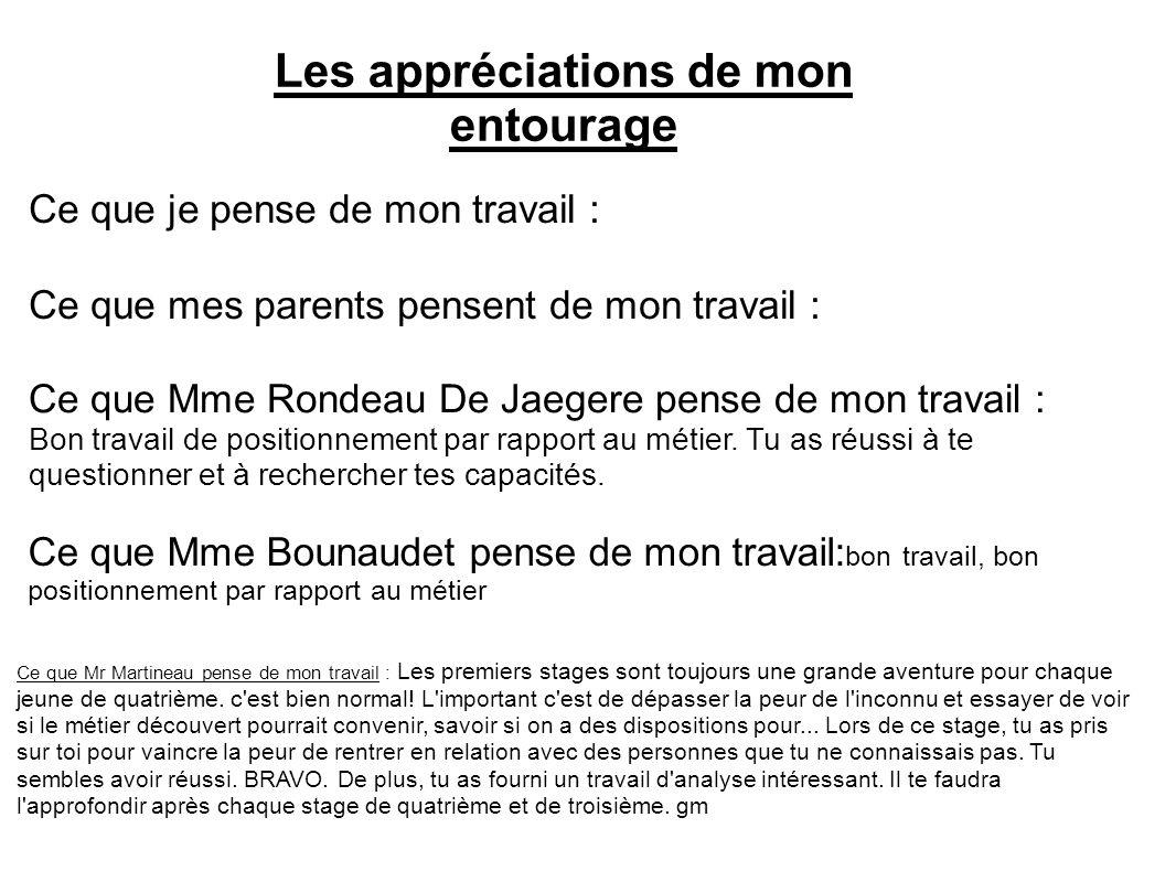 Les appréciations de mon entourage Ce que je pense de mon travail : Ce que mes parents pensent de mon travail : Ce que Mme Rondeau De Jaegere pense de mon travail : Bon travail de positionnement par rapport au métier.