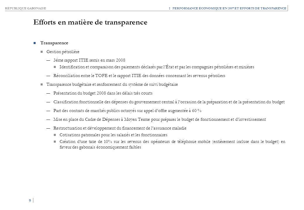 RÉPUBLIQUE GABONAISE 9 9 I PERFORMANCE ÉCONOMIQUE EN 2007 ET EFFORTS DE TRANSPARENCE Efforts en matière de transparence Transparence Gestion pétrolièr