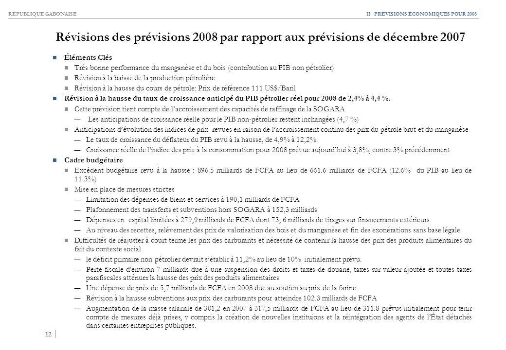 RÉPUBLIQUE GABONAISE 12 II PRÉVISIONS ÉCONOMIQUES POUR 2008 Révisions des prévisions 2008 par rapport aux prévisions de décembre 2007 Éléments Clés Tr