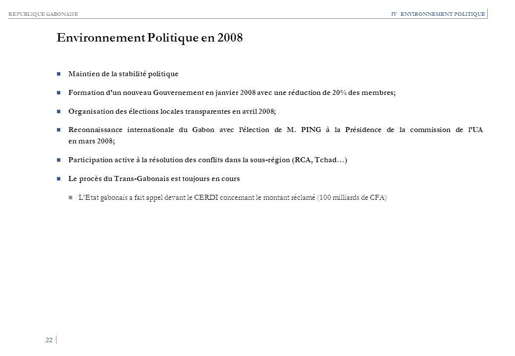 RÉPUBLIQUE GABONAISE 22 IV ENVIRONNEMENT POLITIQUE Environnement Politique en 2008 Maintien de la stabilité politique Formation dun nouveau Gouverneme