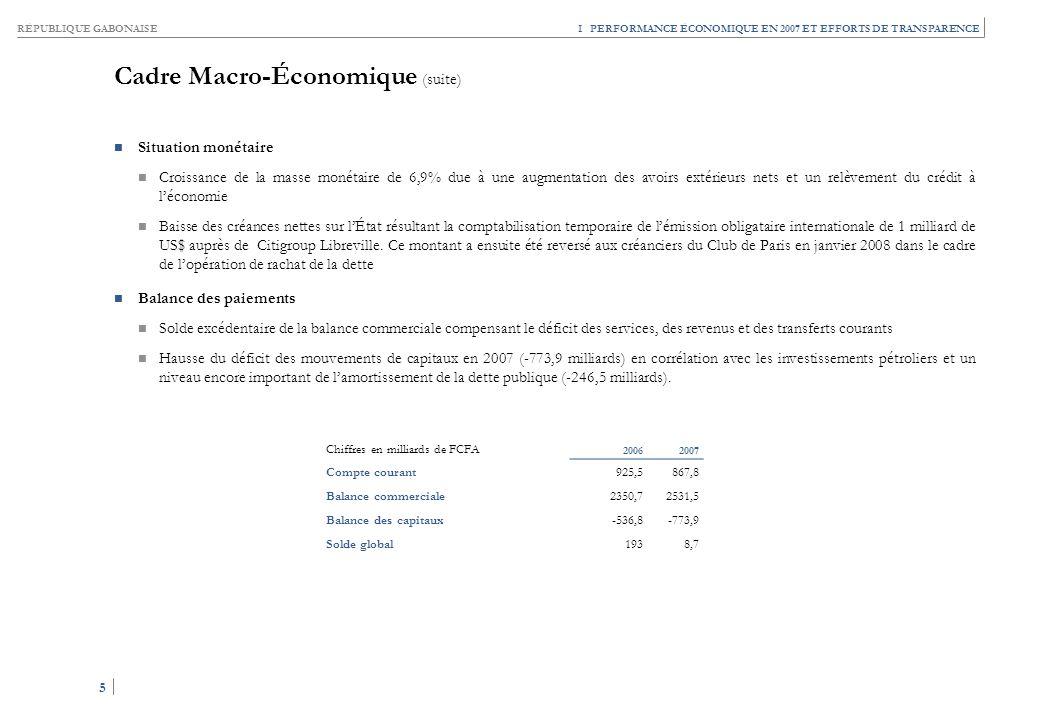 RÉPUBLIQUE GABONAISE 5 5 I PERFORMANCE ÉCONOMIQUE EN 2007 ET EFFORTS DE TRANSPARENCE Chiffres en milliards de FCFA 20062007 Compte courant925,5867,8 B