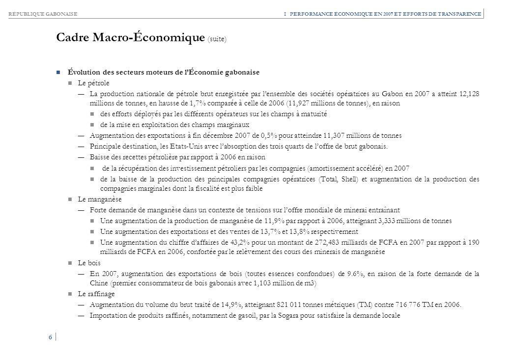 RÉPUBLIQUE GABONAISE 6 6 I PERFORMANCE ÉCONOMIQUE EN 2007 ET EFFORTS DE TRANSPARENCE Cadre Macro-Économique (suite) Évolution des secteurs moteurs de