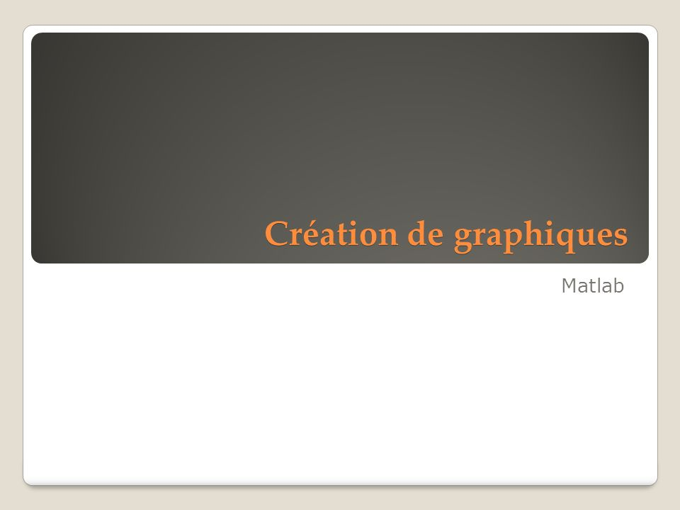 Création de graphiques Matlab
