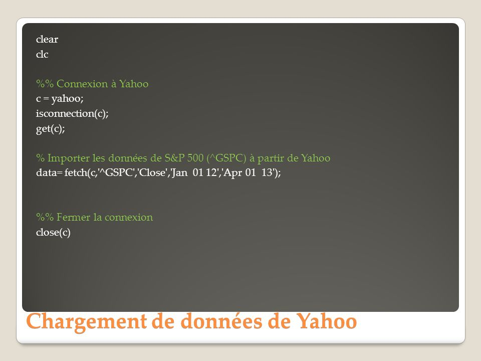 Chargement de données de Yahoo clear clc % Connexion à Yahoo c = yahoo; isconnection(c); get(c); % Importer les données de S&P 500 (^GSPC) à partir de Yahoo data= fetch(c, ^GSPC , Close , Jan 01 12 , Apr 01 13 ); % Fermer la connexion close(c)