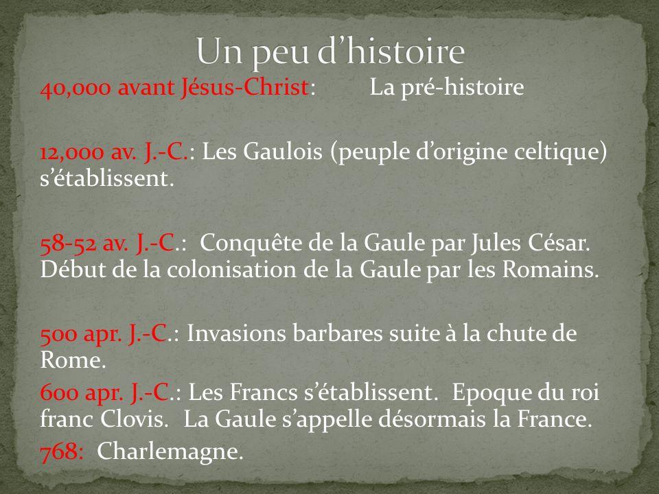 40,000 avant Jésus-Christ:La pré-histoire 12,000 av. J.-C.: Les Gaulois (peuple dorigine celtique) sétablissent. 58-52 av. J.-C.: Conquête de la Gaule