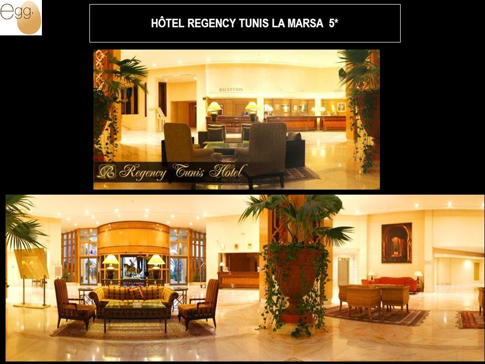 Situation Cet hôtel 5 étoiles est situé en front de mer, à 20 mn du centre de Tunis et à 15 mn de l aéroport international « Tunis Carthage ».