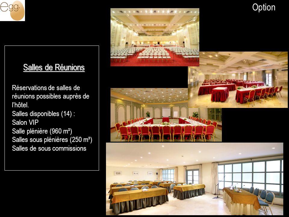 Salles de Réunions Réservations de salles de réunions possibles auprès de lhôtel. Salles disponibles (14) : Salon VIP Salle plénière (960 m²) Salles s