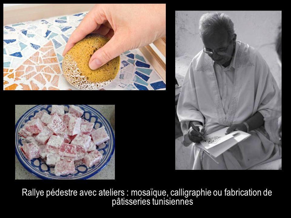 Rallye pédestre avec ateliers : mosaïque, calligraphie ou fabrication de pâtisseries tunisiennes Option