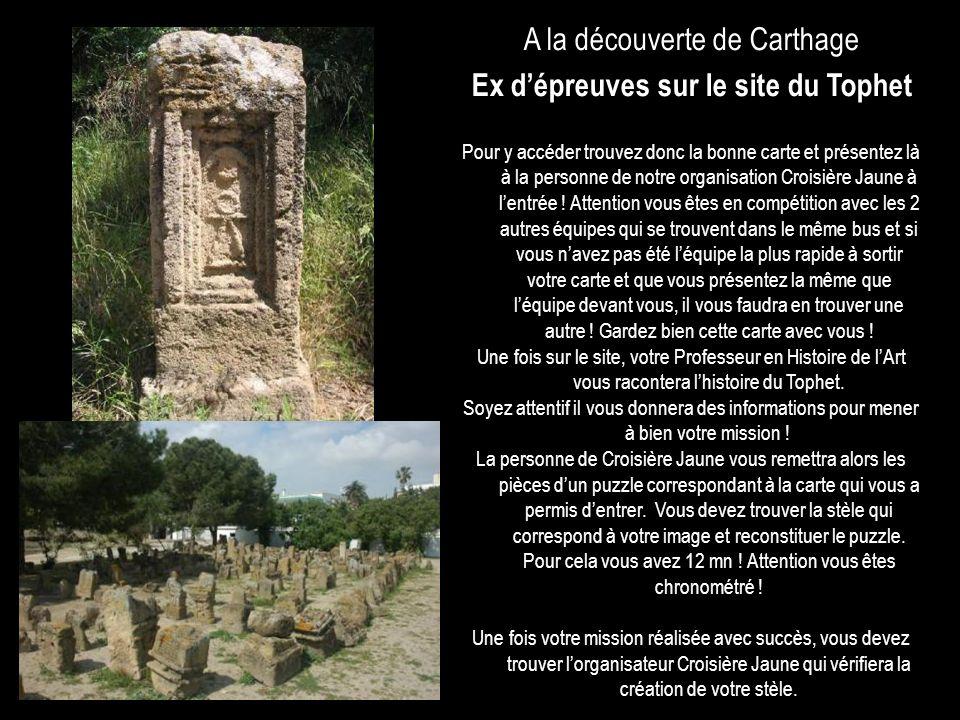 A la découverte de Carthage Ex dépreuves sur le site du Tophet Pour y accéder trouvez donc la bonne carte et présentez là à la personne de notre organ
