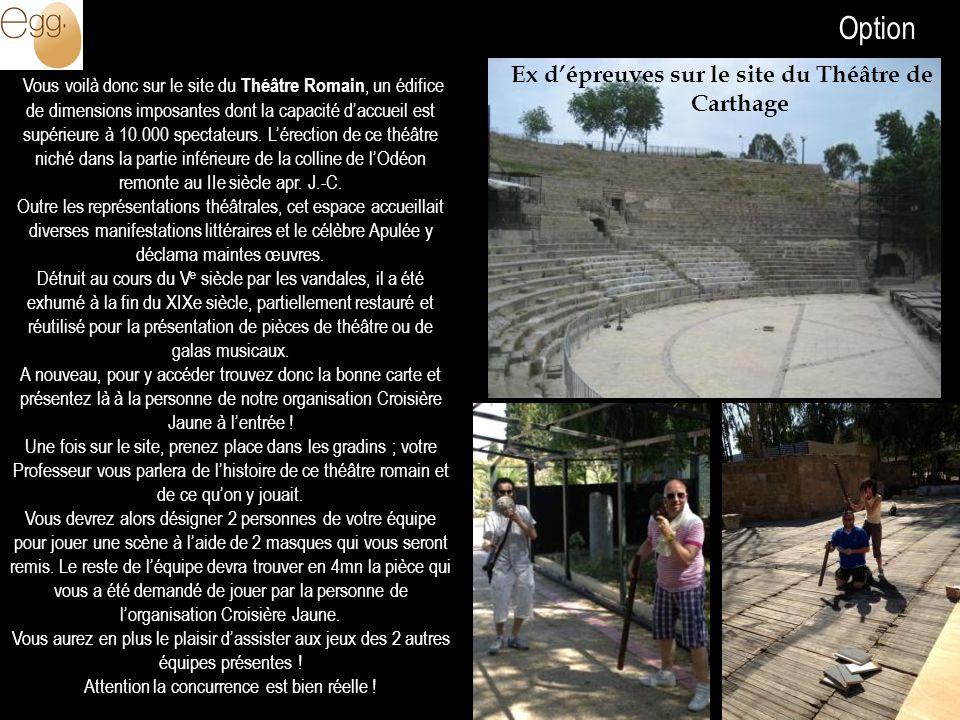 A la découverte de Carthage Ex dépreuves sur le site du Théâtre de Carthage Vous voilà donc sur le site du Théâtre Romain, un édifice de dimensions im