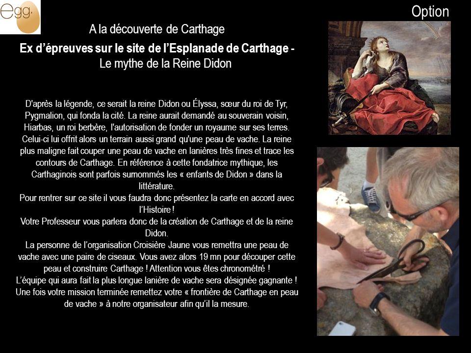 A la découverte de Carthage Ex dépreuves sur le site de lEsplanade de Carthage - Le mythe de la Reine Didon D'après la légende, ce serait la reine Did