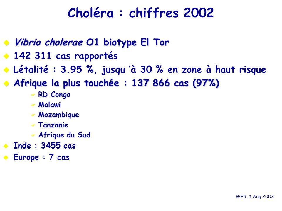 Choléra : chiffres 2002 Vibrio cholerae O1 biotype El Tor Vibrio cholerae O1 biotype El Tor 142 311 cas rapportés Létalité : 3.95 %, jusqu à 30 % en z