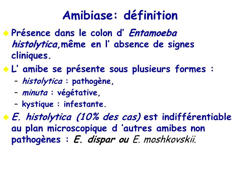 Amibiase: définition Entamoeba histolytica Présence dans le colon d Entamoeba histolytica,même en l absence de signes cliniques. L amibe se présente s