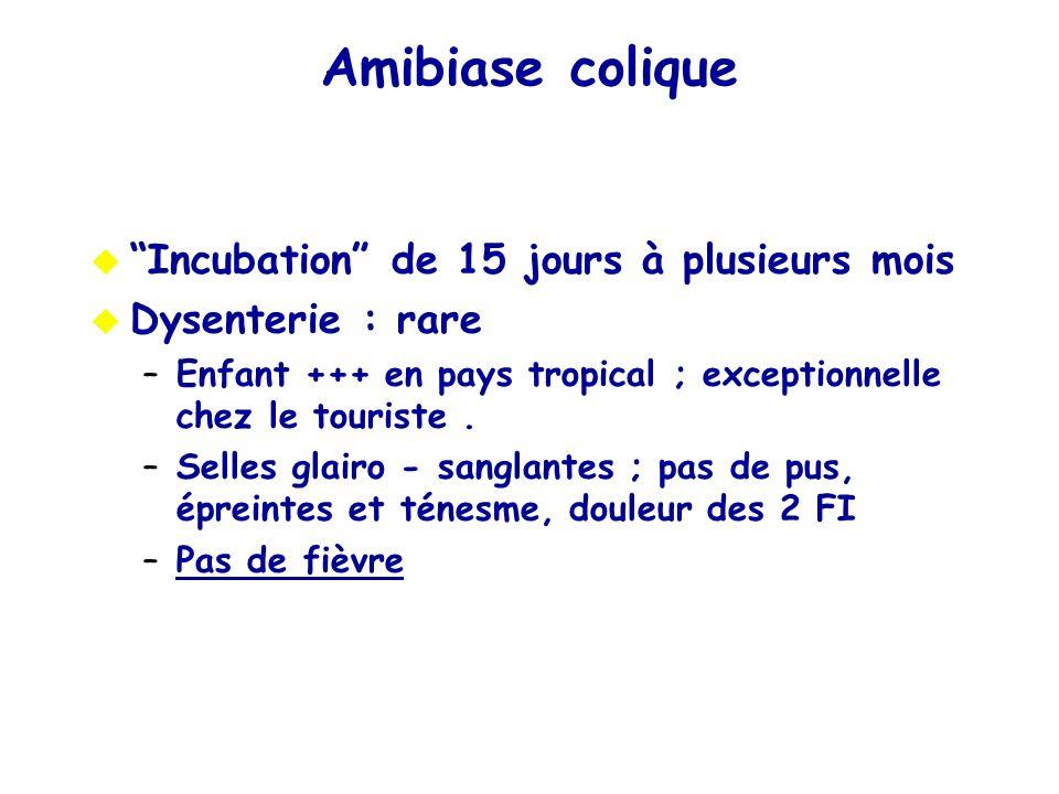 Amibiase colique Incubation de 15 jours à plusieurs mois Dysenterie : rare –Enfant +++ en pays tropical ; exceptionnelle chez le touriste. –Selles gla