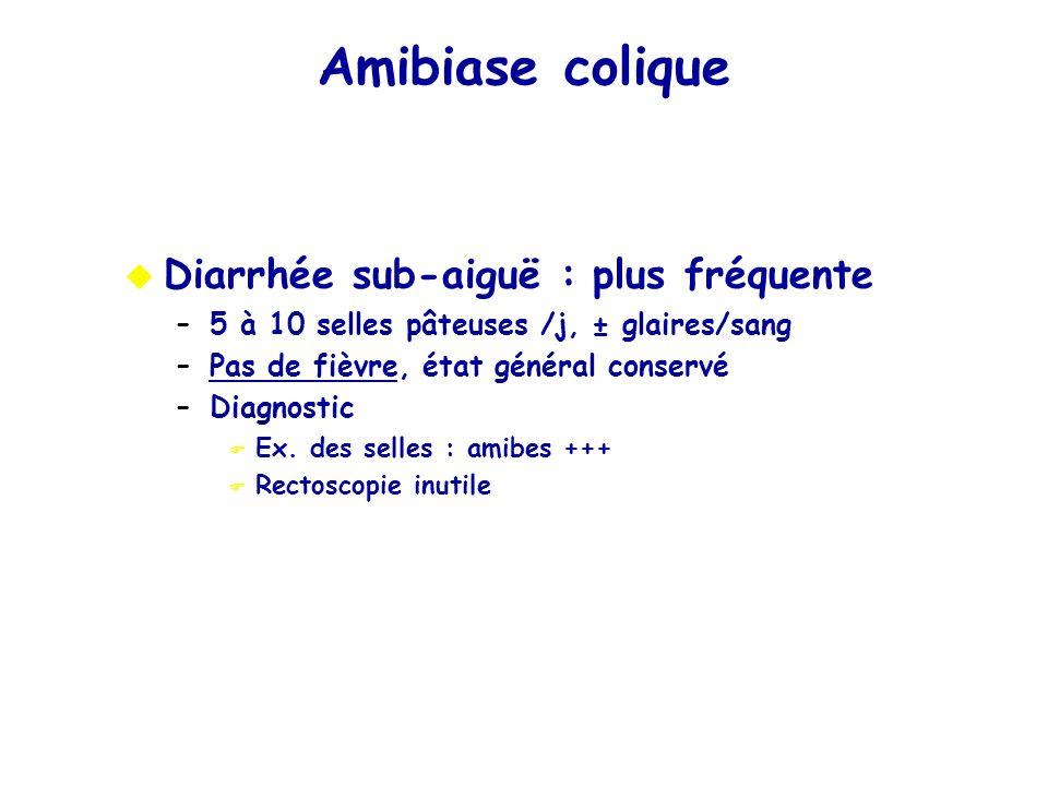 Diarrhée sub-aiguë : plus fréquente –5 à 10 selles pâteuses /j, ± glaires/sang –Pas de fièvre, état général conservé –Diagnostic Ex. des selles : amib