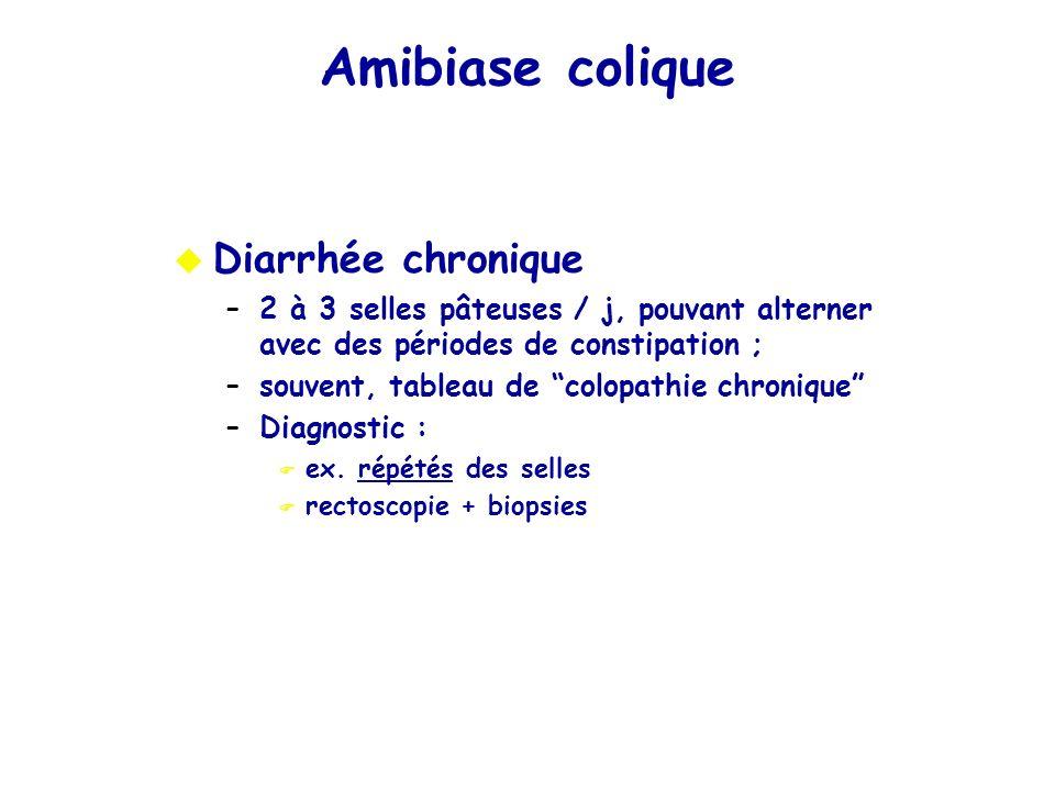 Diarrhée chronique –2 à 3 selles pâteuses / j, pouvant alterner avec des périodes de constipation ; –souvent, tableau de colopathie chronique –Diagnos