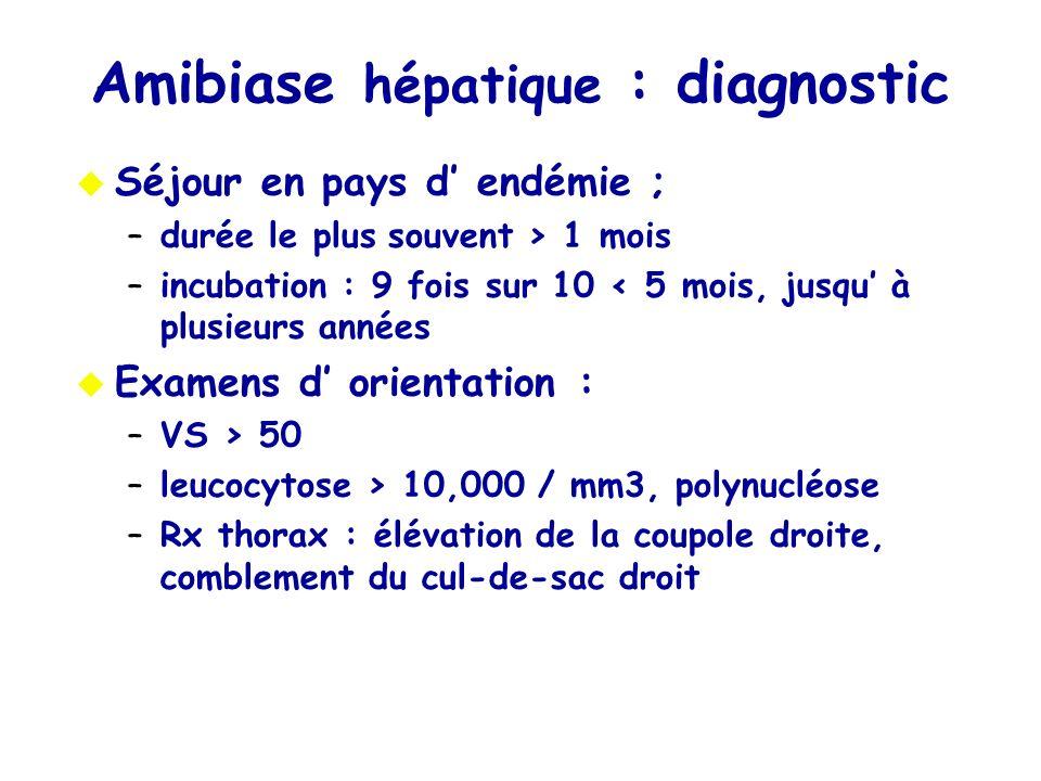 Amibiase hépatique : diagnostic Séjour en pays d endémie ; –durée le plussouvent > 1 mois –incubation : 9 fois sur 10 < 5 mois, jusqu à plusieurs anné