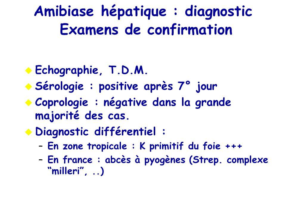 Echographie, T.D.M. Sérologie : positive après 7° jour Coprologie : négative dans la grande majorité des cas. Diagnostic différentiel : –En zone tropi