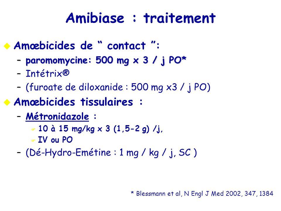 Amibiase : traitement Amœbicides de contact : –paromomycine: 500 mg x 3 / j PO* –Intétrix® –(furoate de diloxanide : 500 mg x3 / j PO) Amœbicides tiss