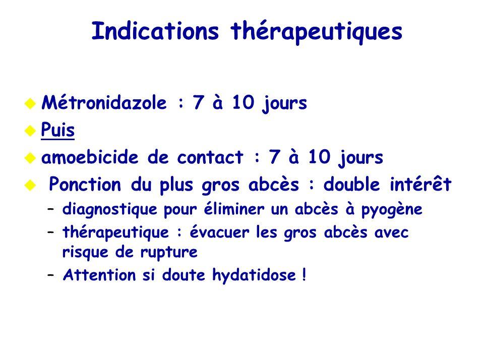Indications thérapeutiques Métronidazole : 7 à 10 jours Puis amoebicide de contact : 7 à 10 jours Ponction du plus gros abcès : double intérêt –diagno