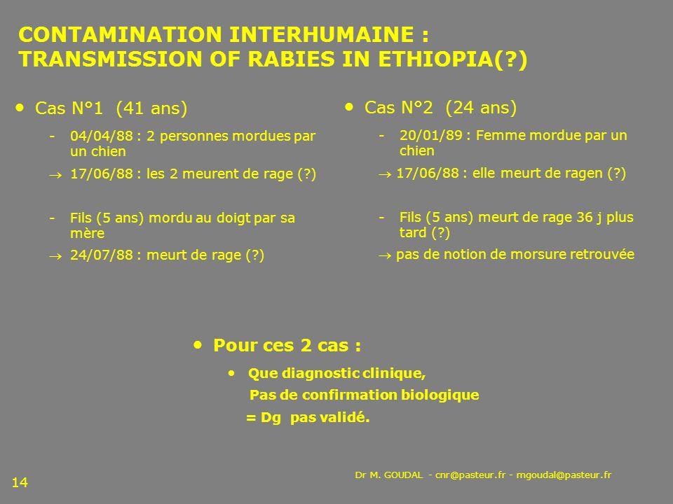 Dr M. GOUDAL - cnr@pasteur.fr - mgoudal@pasteur.fr 14 CONTAMINATION INTERHUMAINE : TRANSMISSION OF RABIES IN ETHIOPIA(?) Cas N°1 (41 ans) 04/04/88 :