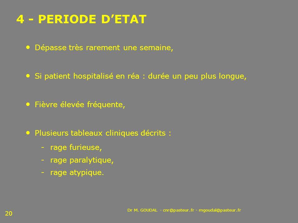 Dr M. GOUDAL - cnr@pasteur.fr - mgoudal@pasteur.fr 20 4 - PERIODE DETAT Dépasse très rarement une semaine, Si patient hospitalisé en réa : durée un pe