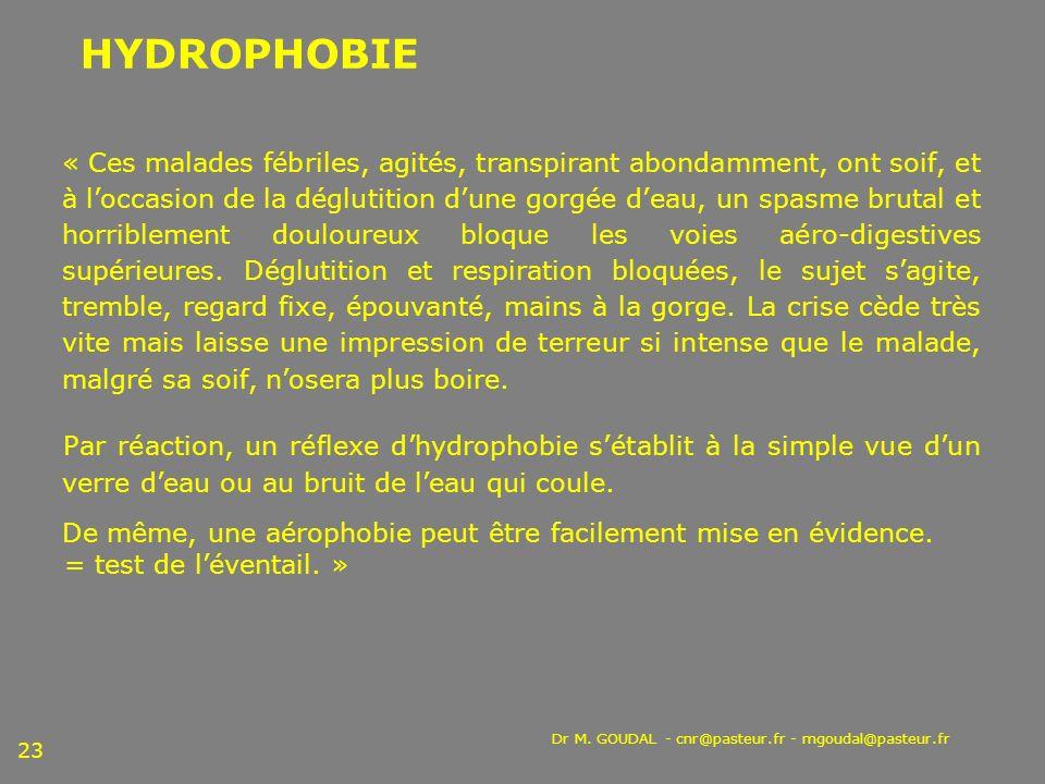 Dr M. GOUDAL - cnr@pasteur.fr - mgoudal@pasteur.fr 23 « Ces malades fébriles, agités, transpirant abondamment, ont soif, et à loccasion de la déglutit