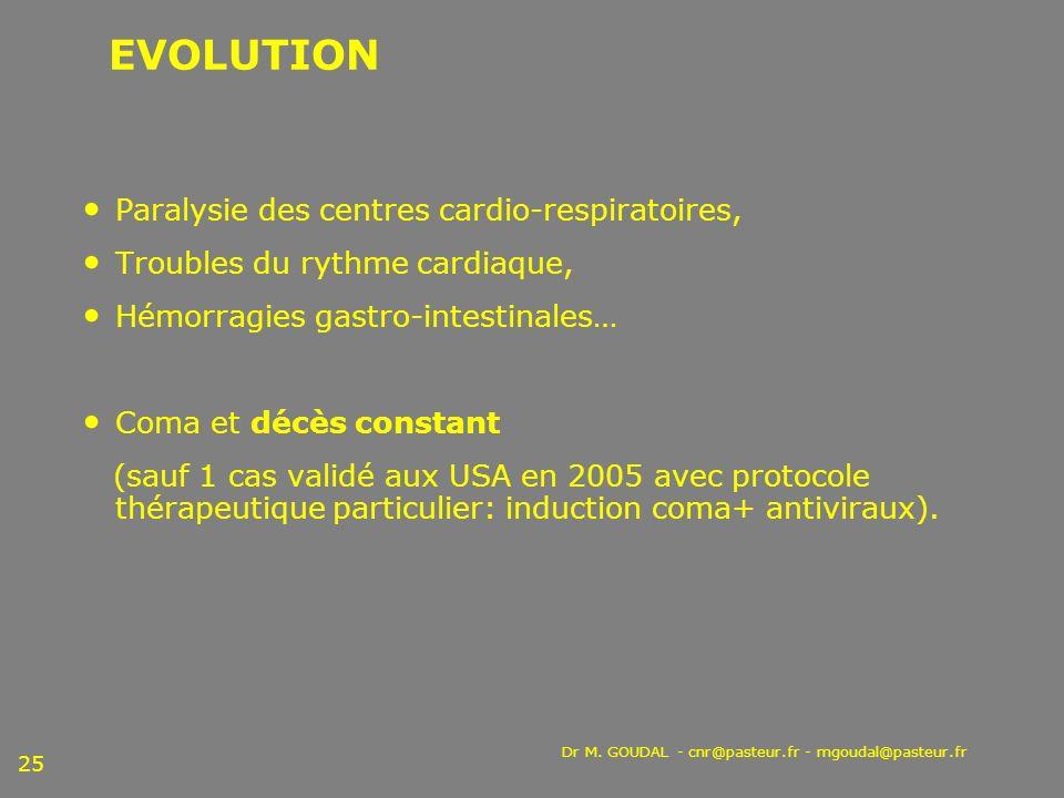 Dr M. GOUDAL - cnr@pasteur.fr - mgoudal@pasteur.fr 25 EVOLUTION Paralysie des centres cardio-respiratoires, Troubles du rythme cardiaque, Hémorragies