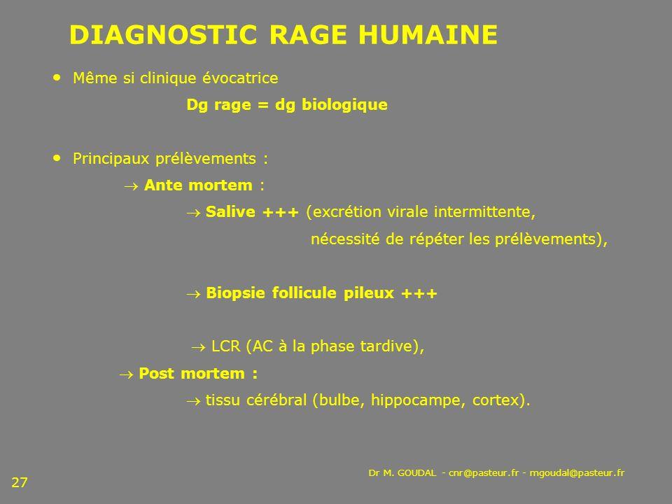 Dr M. GOUDAL - cnr@pasteur.fr - mgoudal@pasteur.fr 27 DIAGNOSTIC RAGE HUMAINE Même si clinique évocatrice Dg rage = dg biologique Principaux prélèveme