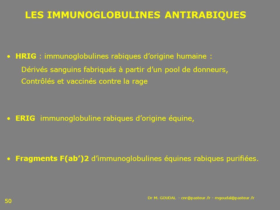Dr M. GOUDAL - cnr@pasteur.fr - mgoudal@pasteur.fr 50 LES IMMUNOGLOBULINES ANTIRABIQUES HRIG : immunoglobulines rabiques dorigine humaine : Dérivés sa