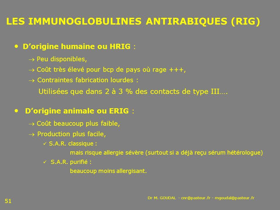 Dr M. GOUDAL - cnr@pasteur.fr - mgoudal@pasteur.fr 51 LES IMMUNOGLOBULINES ANTIRABIQUES (RIG) Dorigine humaine ou HRIG : Peu disponibles, Coût très él