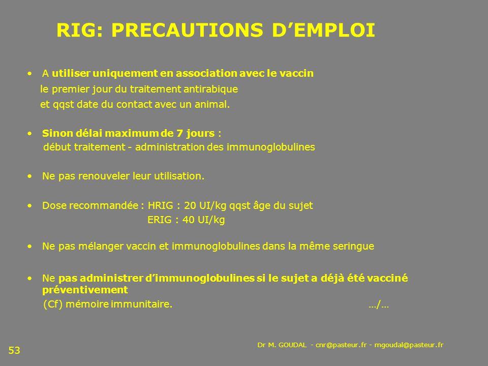 Dr M. GOUDAL - cnr@pasteur.fr - mgoudal@pasteur.fr 53 RIG: PRECAUTIONS DEMPLOI A utiliser uniquement en association avec le vaccin le premier jour du