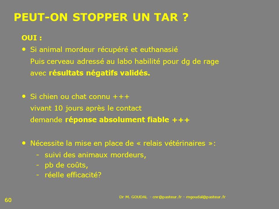 Dr M. GOUDAL - cnr@pasteur.fr - mgoudal@pasteur.fr 60 PEUT-ON STOPPER UN TAR ? OUI : Si animal mordeur récupéré et euthanasié Puis cerveau adressé au