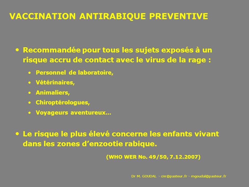 VACCINATION ANTIRABIQUE PREVENTIVE Recommandée pour tous les sujets exposés à un risque accru de contact avec le virus de la rage : Personnel de labor